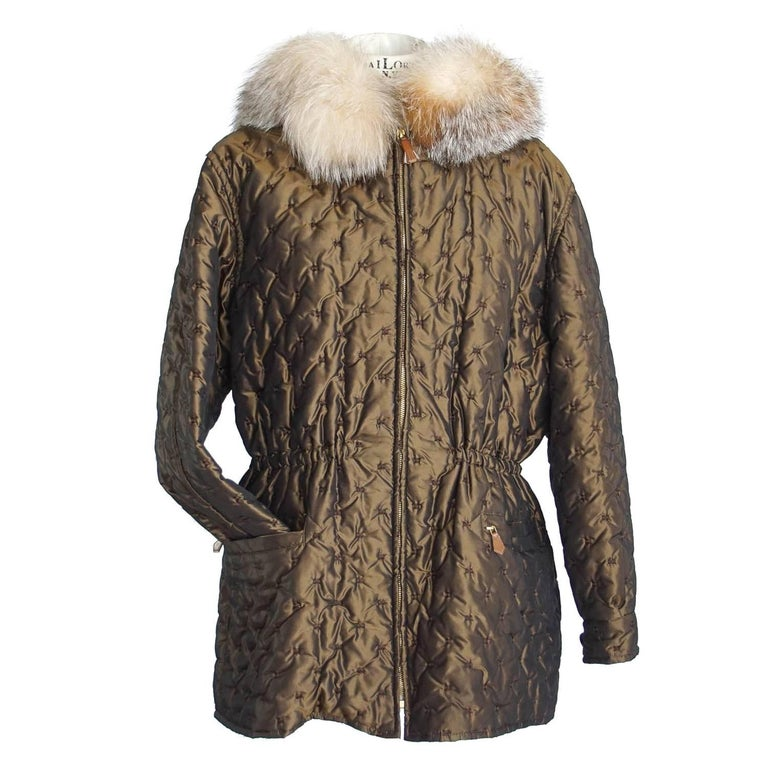 Hermes Jacket Vintage Iridescent Quilted Parka Lush Fox Hoodie Trim 6 For Sale