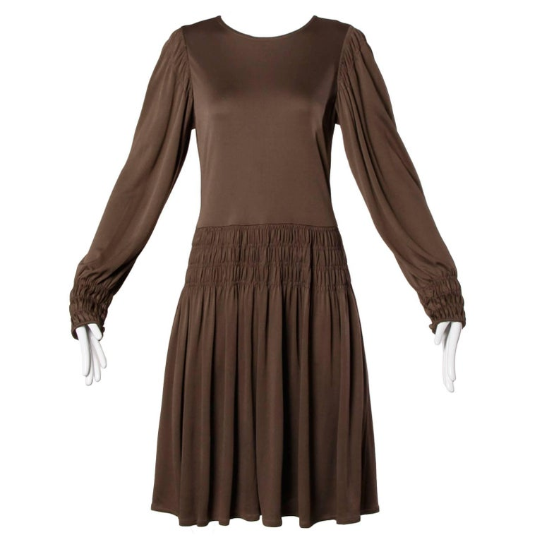 Bill Blass for Saks Fifth Avenue Ruched Brown Jersey Knit Dress For Sale