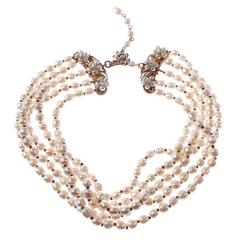 Miriam Haskell Multi Strand  Pearl Necklace