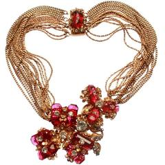 Miriam Haskell Multi Strand Necklace with Faceted Glass Flowers