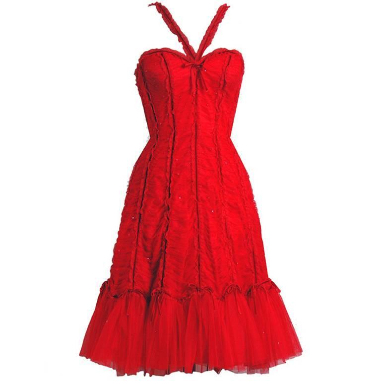 1990's Beville Sassoon Ruby-Red Sequin Ruched Tulle Fishtail Cocktail Dress 1