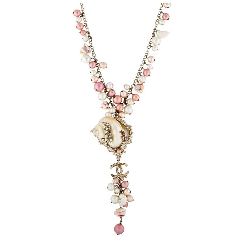 Chanel  Pink & White MOP Shell Drop Necklace For Sale