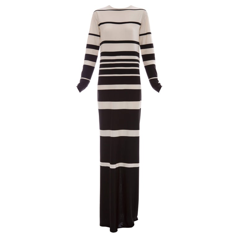 Marc Jacobs Runway Silk Crew Neck Striped Maxi Dress, Spring 2013 For Sale
