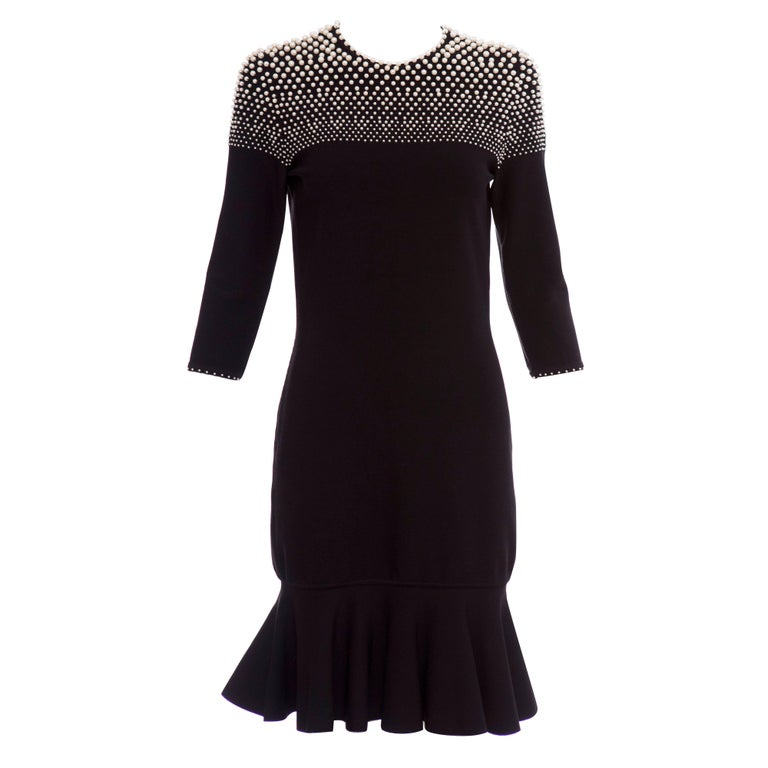Alexander McQueen Black Knit Dress With Pearl Neckline, Autumn - Winter 2013 For Sale