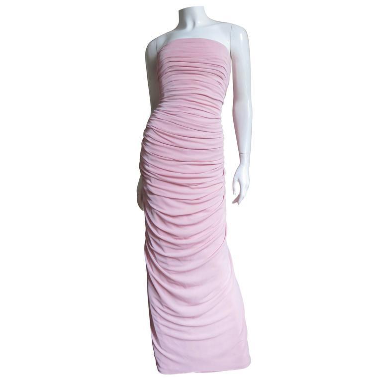 1970s Estevez Ruched Strapless Gown