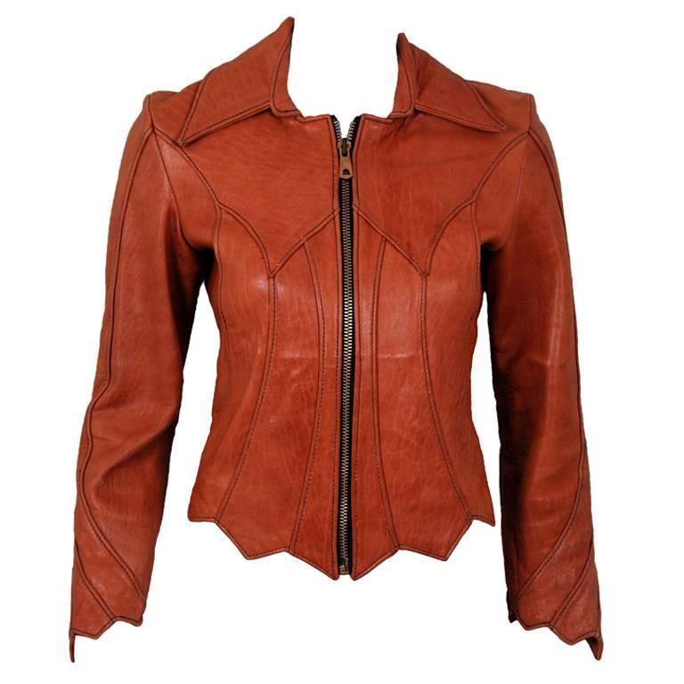 1970's East West Musical Instruments Fitted Sienna-Brown Scallop Leather Jacket 1