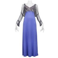Vintage Loris Azzaro Periwinkle Blue Chain Sleeve Gown