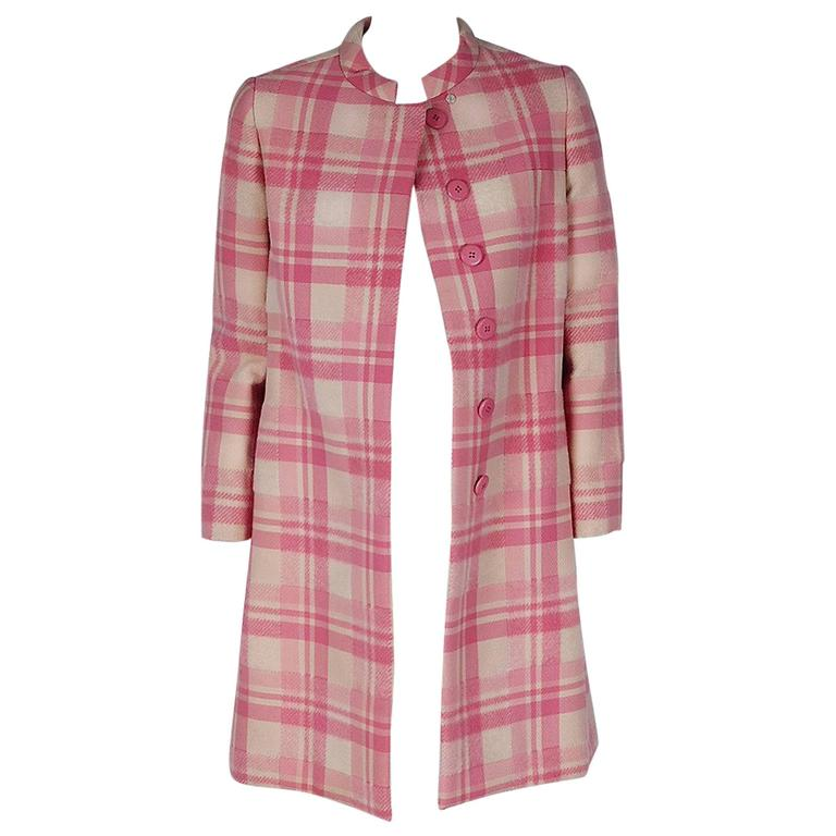 1966 George Halley Couture Pink and Ivory-White Plaid Wool Tailored Mod Coat