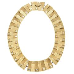 Satin Brushed Gold Plated Metal with Rhinstone Reticulated Collar Necklace