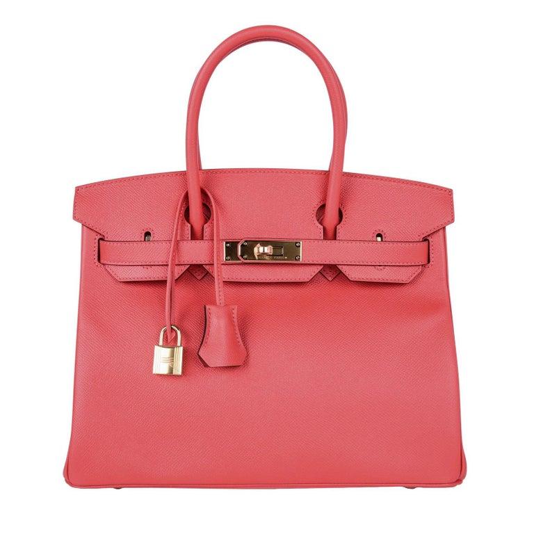 Hermes Birkin 30 Bag Exquisite Rose Jaipur Pink Epsom Gold Hardware For Sale