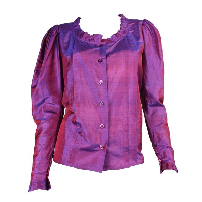 1970's Yves Saint Laurent Silk Blouse with Ruffle Detail 1
