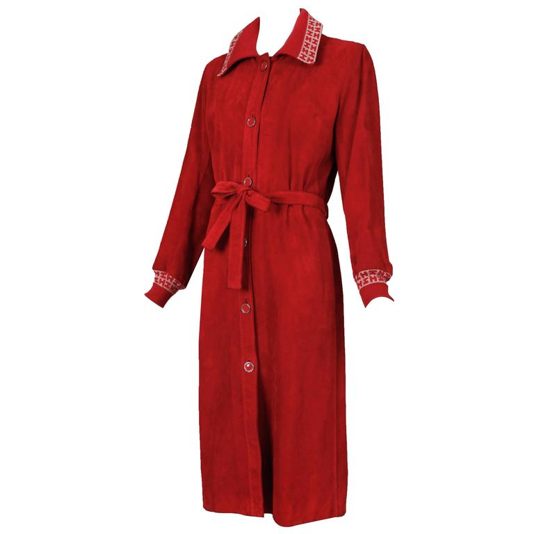 1970's Hermes Sport Suede Belted Coat w/Sweater Cuffs and ...
