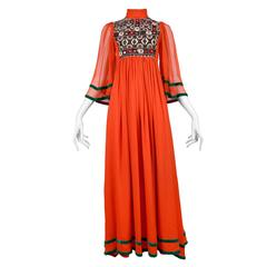 Thea Porter Red Chiffon Embroidered Mirror Gown