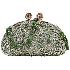 1367c374cb9 Edidi Bag Exquisite Swarovksi Diamante Jade Accented Evening Purse NWT