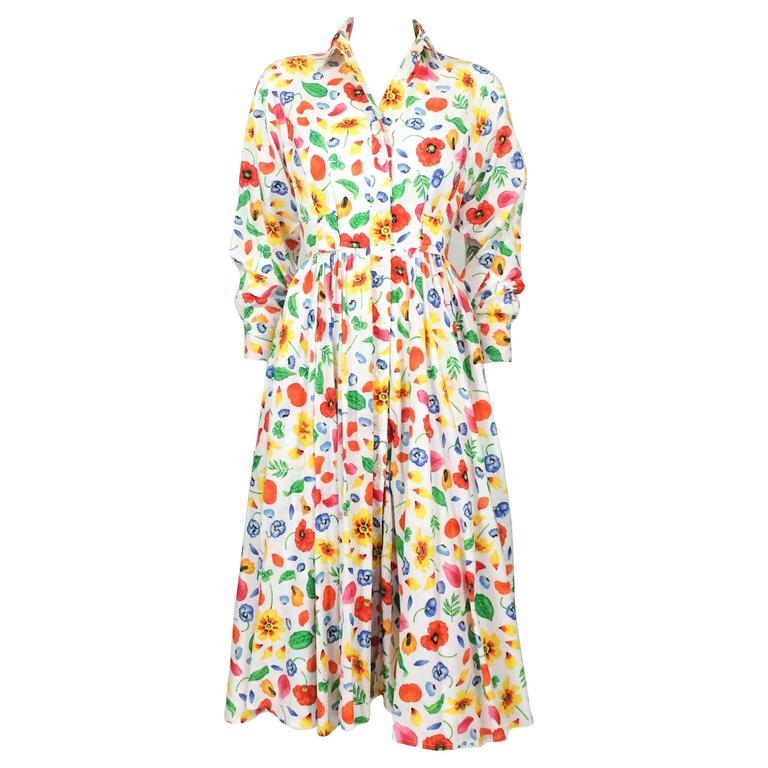 Kenzo Floral Shirt Dress - 1970s / 1980s