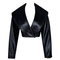 1990's Azzedine Alaia Black Leather Portrait Collar Plunge Cropped Jacket