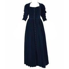 Vintage Alaia Blue Velvet Button Front Gown 1980s