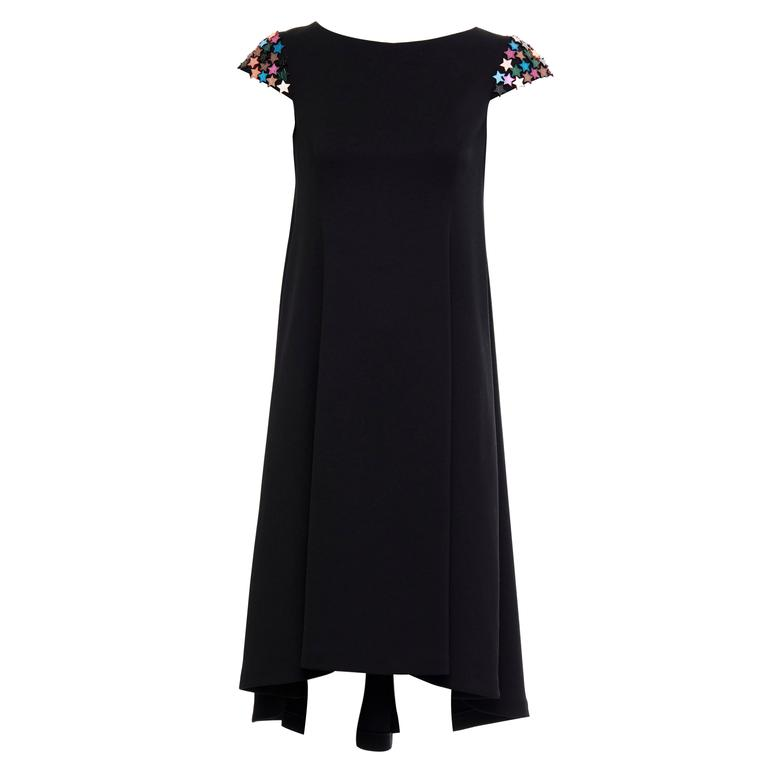 Yves Saint Laurent Black A - Line Dress With Mirrored Stars At Sleeve