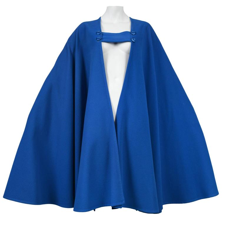 Yves Saint Laurent Blue Wool Cape 1