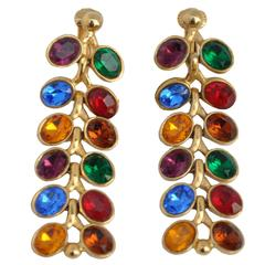 "Gilded Gold Vermeil with Multi-Color ""Leaf"" Drop Earrings"