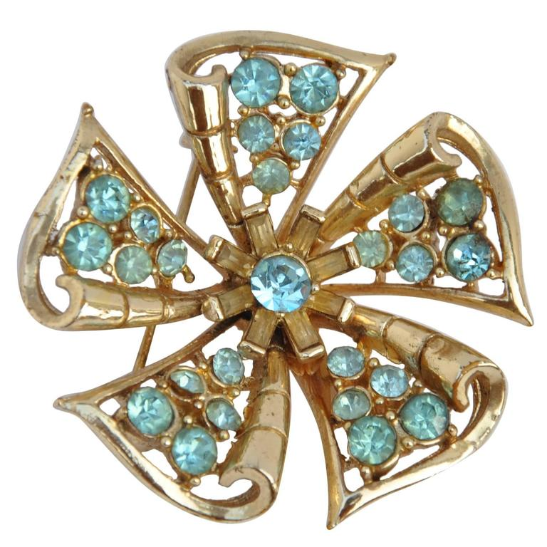"""Large Floral Gilded Gold with """"Aqua"""" Accent Brooch 1"""