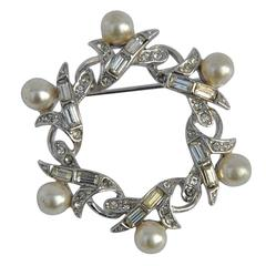 Gilded Silver with Multi-Size Rhinestones and Pearl Brooch