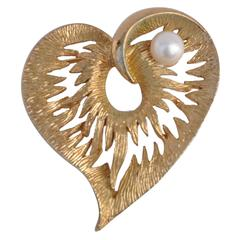 "Napier Gilded Gold Filigree with Pearl ""Heart"" Brooch"