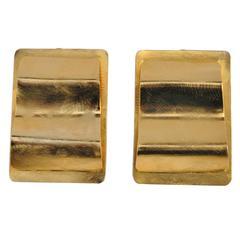 Huge Brushed Gold Vermeil Hardware Earrings