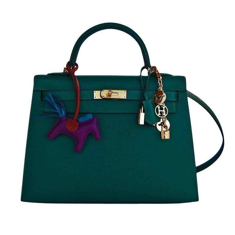 Celeb Fave Hermes 32cm Malachite Gold Sellier GHW Emerald Epsom Kelly For Sale