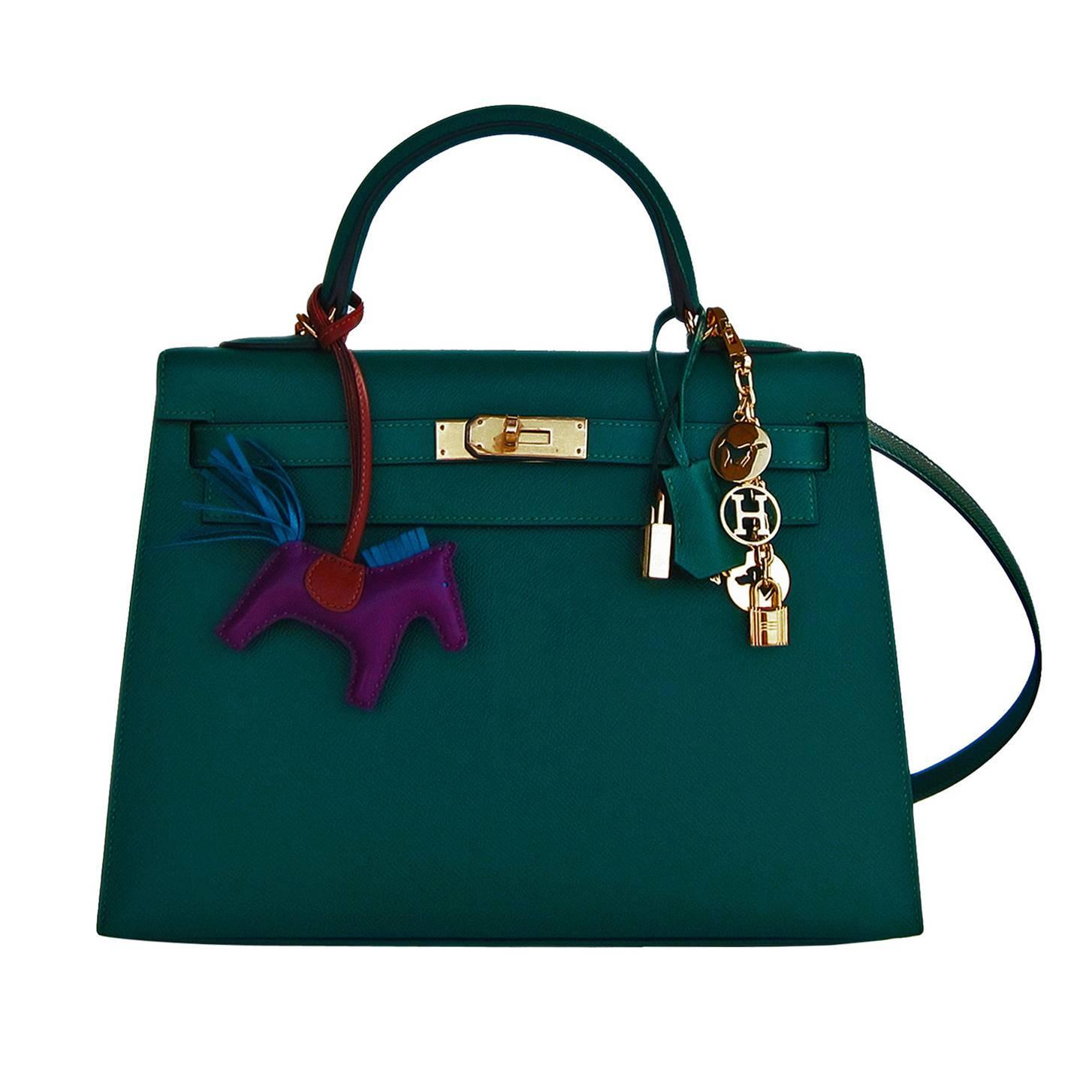 6b55dc662134 Celeb Fave Hermes 32cm Malachite Gold Sellier GHW Emerald Epsom Kelly at  1stdibs