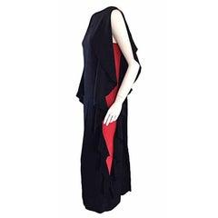 Incredible Vintage Chloe by Karl Lagerfeld Silk 2 - Sided Black Caftan Dress