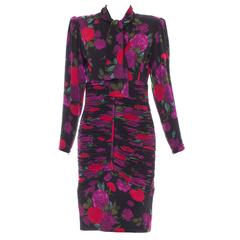 Emanuel Ungaro Floral Wool Jersey Ruched Dress, Circa 1980's