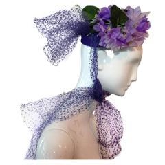 1940s Irina Roublon Silk Violet Hat w/ Extravagant Tulle Bows