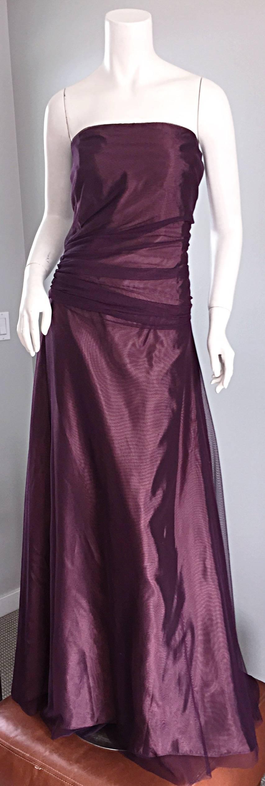Stunning Vera Wang Size 14 Purple Taffeta Silk Tulle Vintage Evening ...