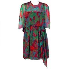 1966 Galanos Watercolor Novelty Fish Print Silk-Chiffon Capelet Belted Dress