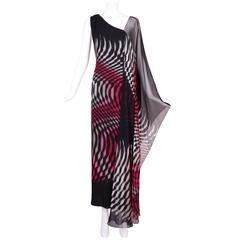 70s Hanae Mori Couture Op Art Chiffon Gown w/Asymmetric Shoulder