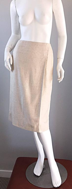 Gray 1990s Chanel Ivory / Cream / Beige Size 40 Silk Essential Vintage Wrap Skirt  For Sale