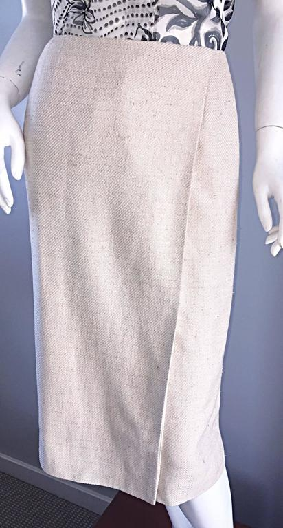 1990s Chanel Ivory / Cream / Beige Size 40 Silk Essential Vintage Wrap Skirt  For Sale 2