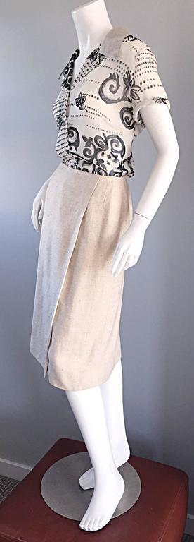 1990s Chanel Ivory / Cream / Beige Size 40 Silk Essential Vintage Wrap Skirt  For Sale 3