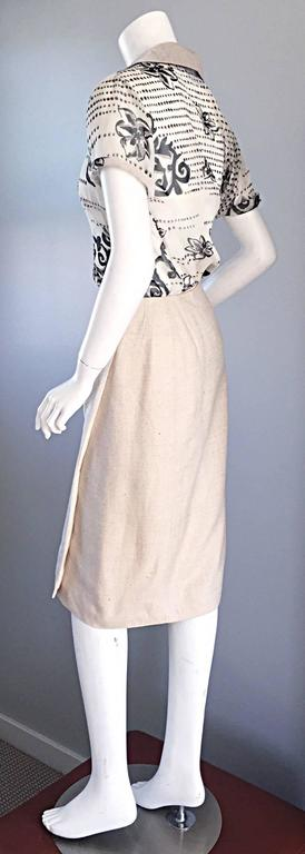 Amazing vintage Chanel wrap skirt. Beautiful ivory color, with speckles of beige, khaki, and cream throughout. Can easily be dressed up or down. Perfect for day or night. 100% silk, and fully lined. Wrap style, with hook-and-eye closure on interior