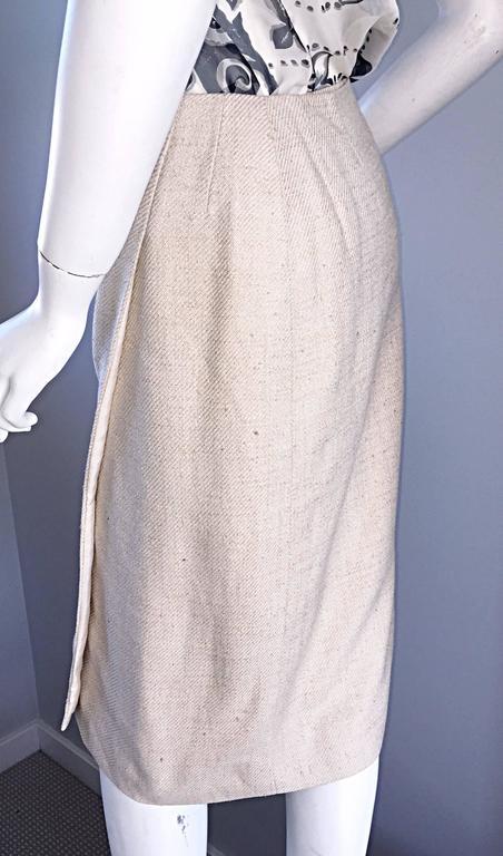 1990s Chanel Ivory / Cream / Beige Size 40 Silk Essential Vintage Wrap Skirt  For Sale 1