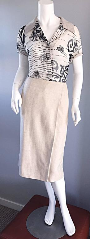 1990s Chanel Ivory / Cream / Beige Size 40 Silk Essential Vintage Wrap Skirt  In Excellent Condition For Sale In Chicago, IL