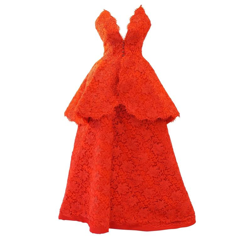 1995 Nina Ricci Couture Red Corded Lace Evening Gown