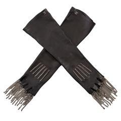 Chanel Black Lambskin Fingerless Gloves With Gunmetal Fringe Chain, Fall 2008