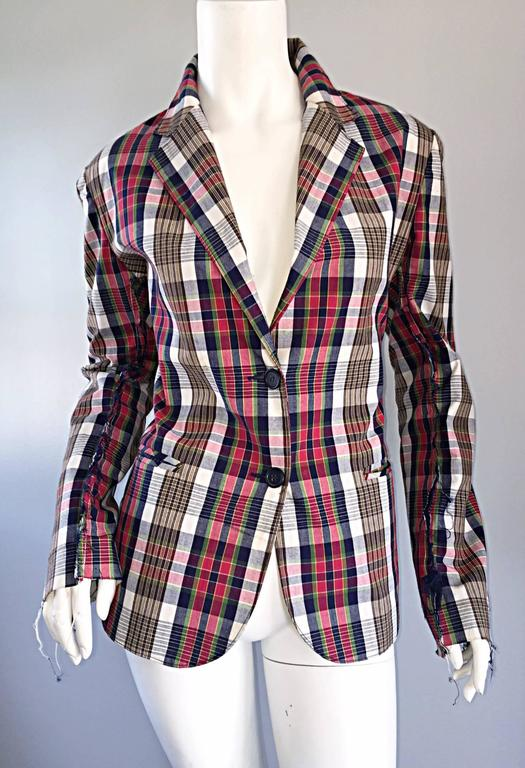Libertine Impossible to Find Up - Cycled Plaid Blazer w/ Hand - Painted Skull For Sale 1