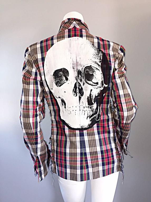 Libertine Impossible to Find Up - Cycled Plaid Blazer w/ Hand - Painted Skull 7