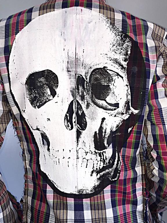 Libertine Impossible to Find Up - Cycled Plaid Blazer w/ Hand - Painted Skull 10