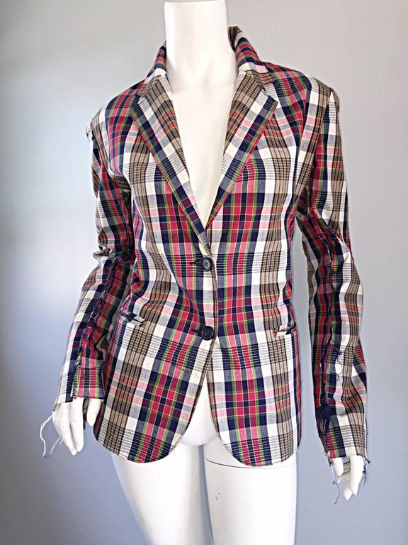 Libertine Impossible to Find Up - Cycled Plaid Blazer w/ Hand - Painted Skull 5