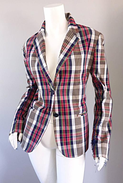 Libertine Impossible to Find Up - Cycled Plaid Blazer w/ Hand - Painted Skull In Excellent Condition For Sale In San Francisco, CA