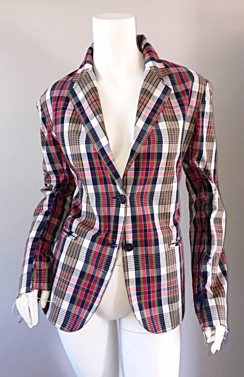 Libertine Impossible to Find Up - Cycled Plaid Blazer w/ Hand - Painted Skull For Sale 3